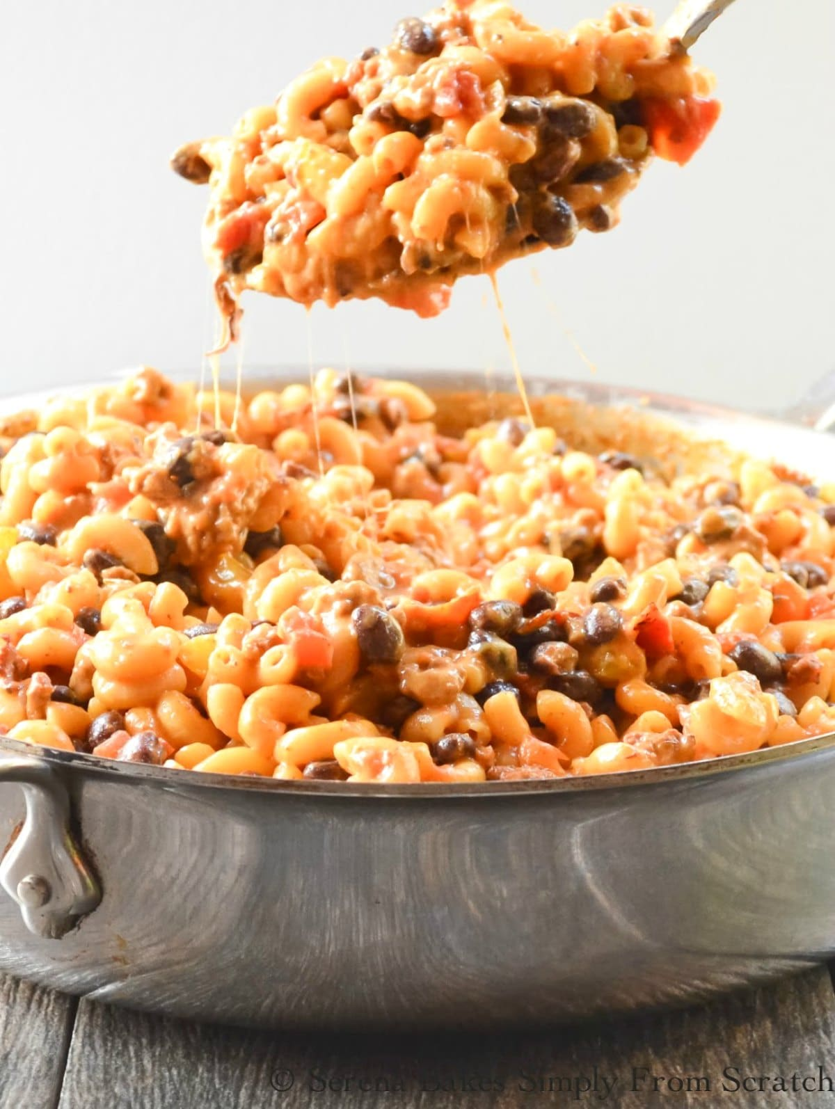 One Pot Chili Mac and Cheese is a super easy to make family favorite from scratch in under 30 minutes from Serena Bakes Simply From Scratch.