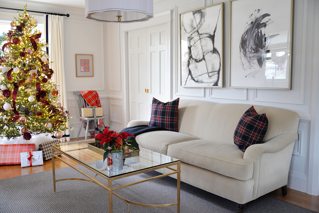 Camel william birch english roll arm sofa. Tartan pillows. Christmas decor ideas. Living room decorated for Christmas