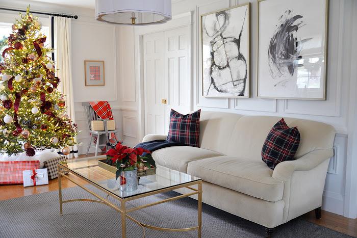 Camel william birch english roll arm sofa. Tartan pillows. Christmas decor ideas. Living room decorated for Christmas