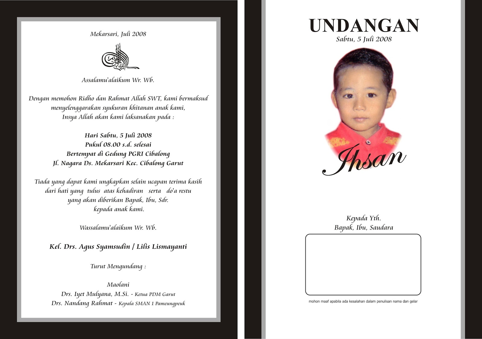 Kartu Undangan Undangan Khitanan Bahasa Indonesia Ukuran 14 X 20
