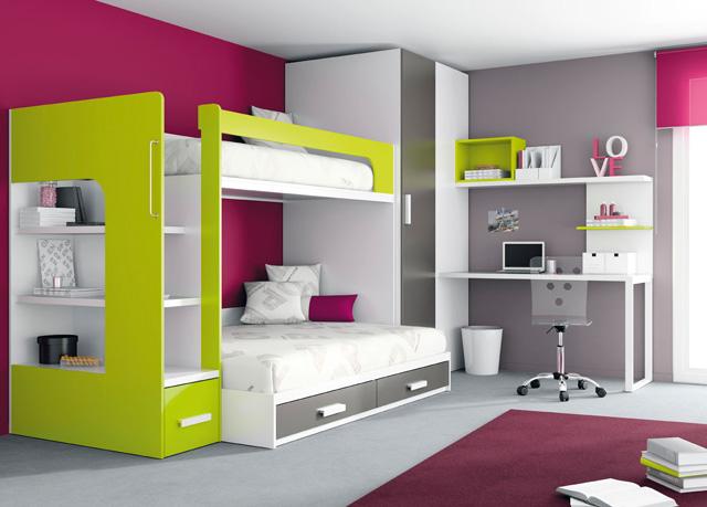 litera con cama de y abajo cama de matrimonio ideal para espacios o estudios