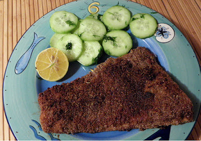 Plated Pecan Crusted Trout with Cucumber Pickles
