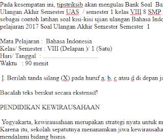 Soal-Ulangan-Ujian-UAS-Bahasa-Indonesia-kelas-VIII-8-SMP-Semester-1