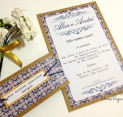 convite artesanal personalizado aniversário 15 anos casamento barroco azulejo português rústico moderno clássico diferente papelaria personalizada para festas scrapfesta scrap boho chic provençal