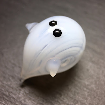 Lampwork blown glass hollow ghost bead by Laura Sparling