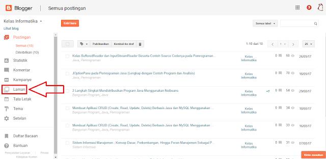 Kelas Informatika - Dashboard Blogger