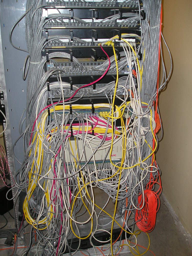 Bad Network Closet Internet Wiring Going To Better With New Patch Cables This Makes A Lot Easier Among Other