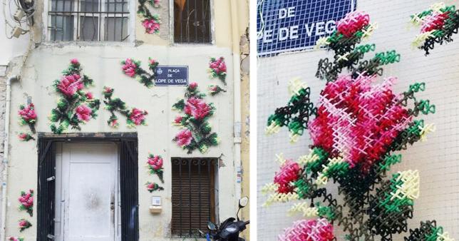 Macro rose ricamate decorano le città delle Spagna