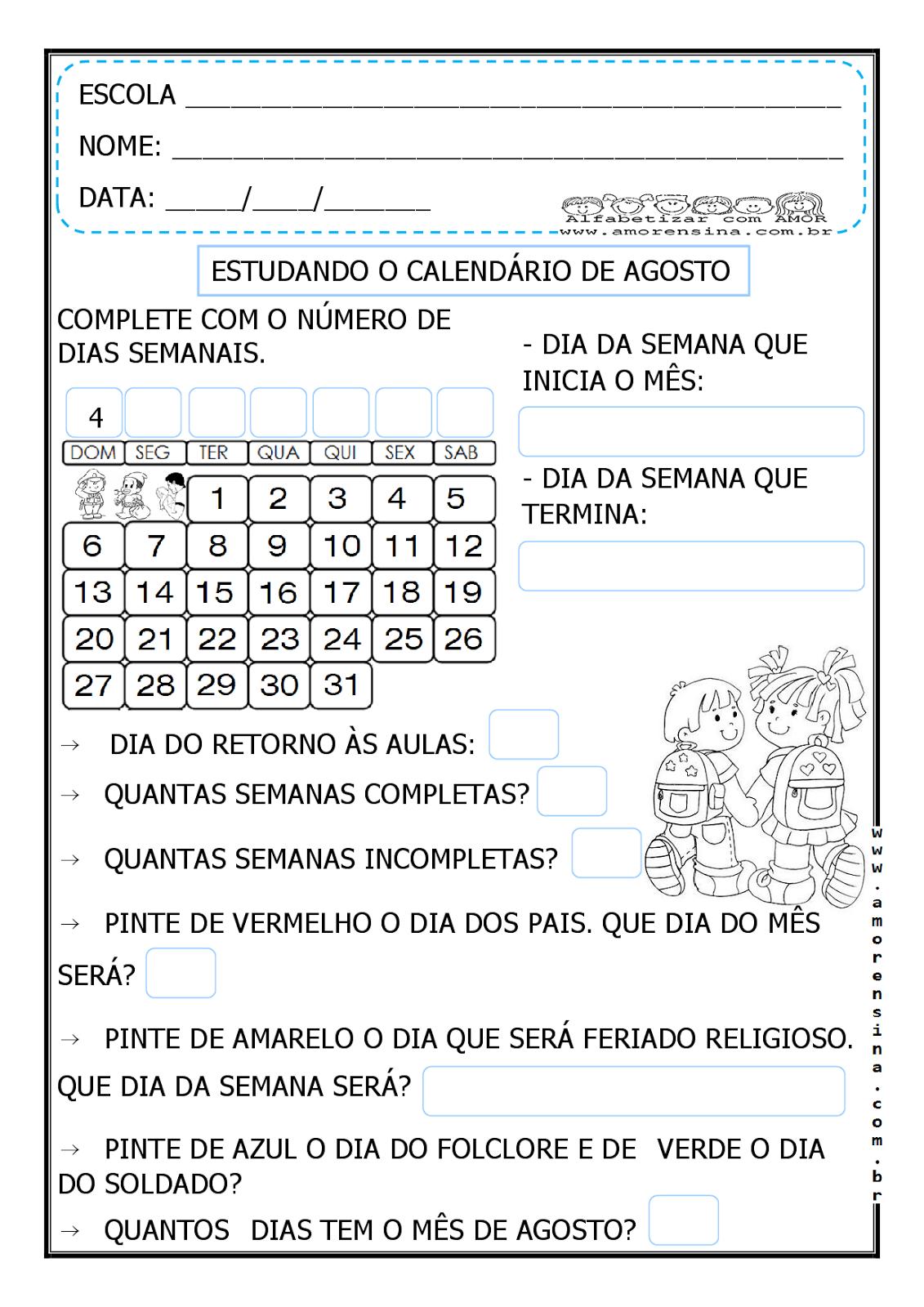 Excepcional ESTUDANDO O CALENDÁRIO DO MÊS DE AGOSTO - 1º ANO/ 2º ANO  TP53