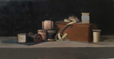 WIP oil painting, still life, vintage