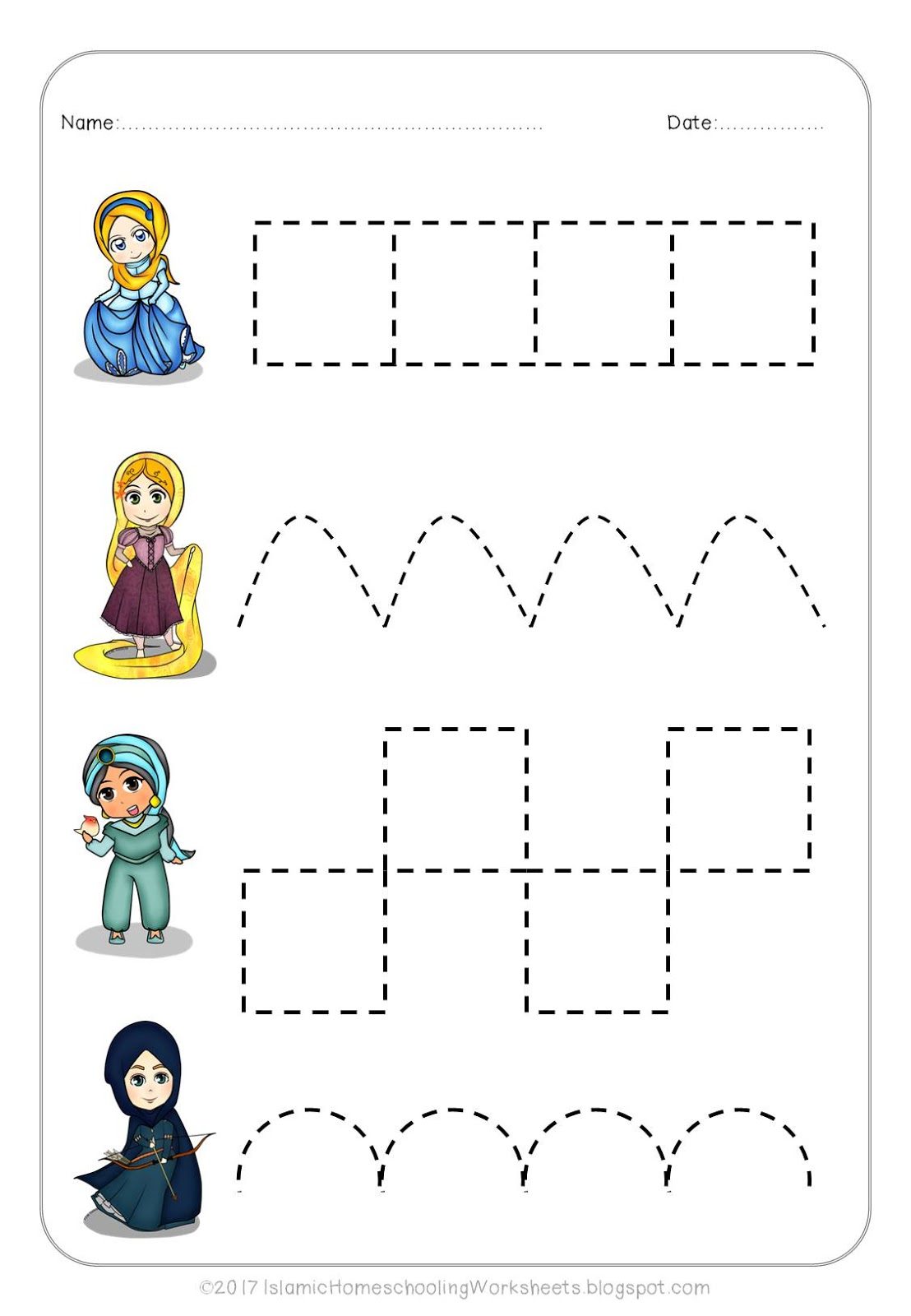 Princess Maze Preschool Worksheet