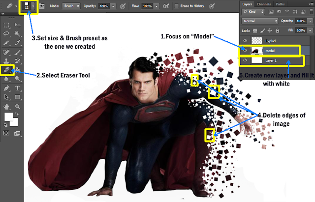 use eraser tool in photoshop