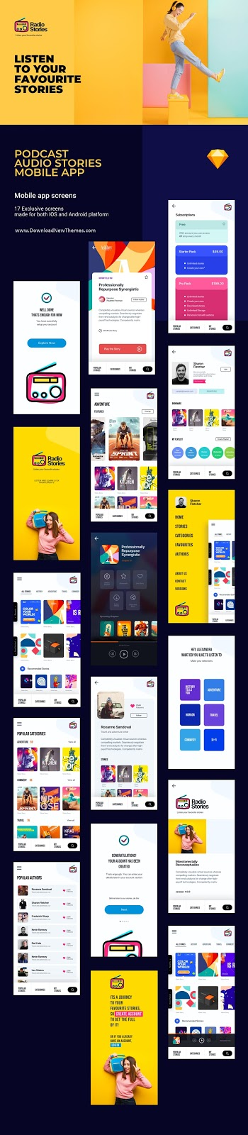 Download Podcast Mobile App Sketch Template