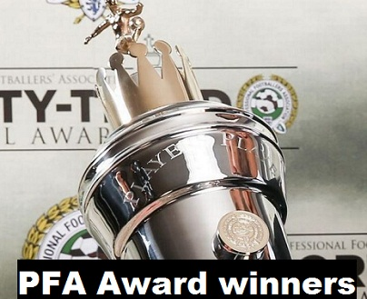 PFA  Premier League Player of the Year Award Past Winners List 1974 - 2019.