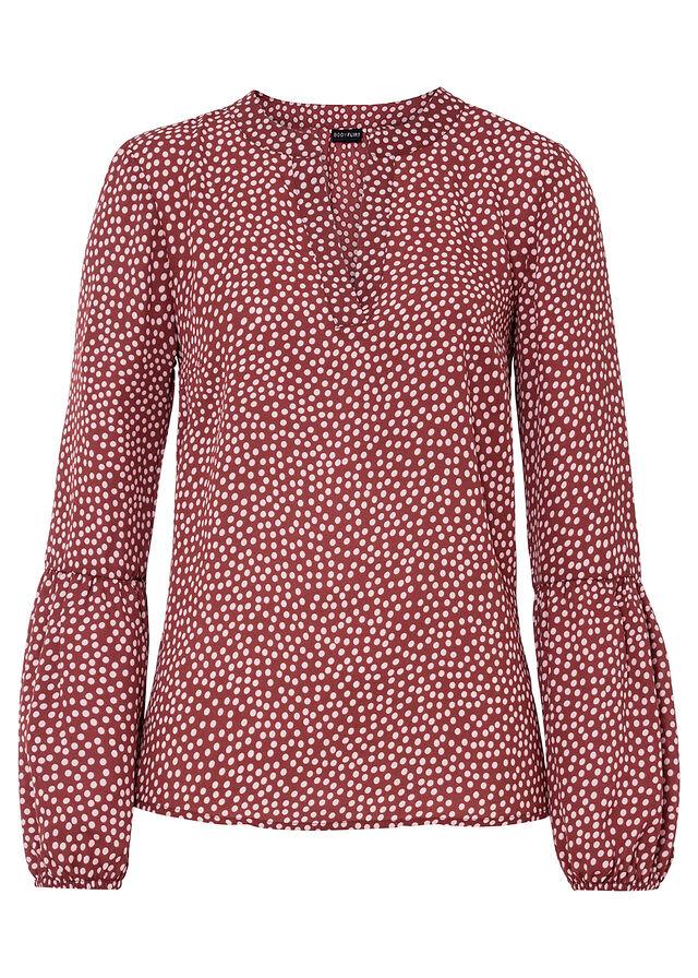 Bluzka czerwono-jasnoróżowy w kropki