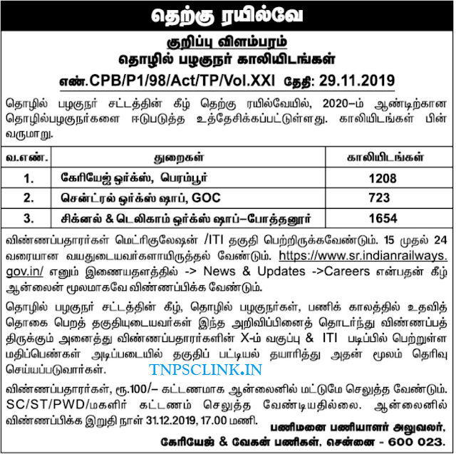 Southern Railway Act Apprentices Recruitment 2019 - 3405 Posts Vacancy