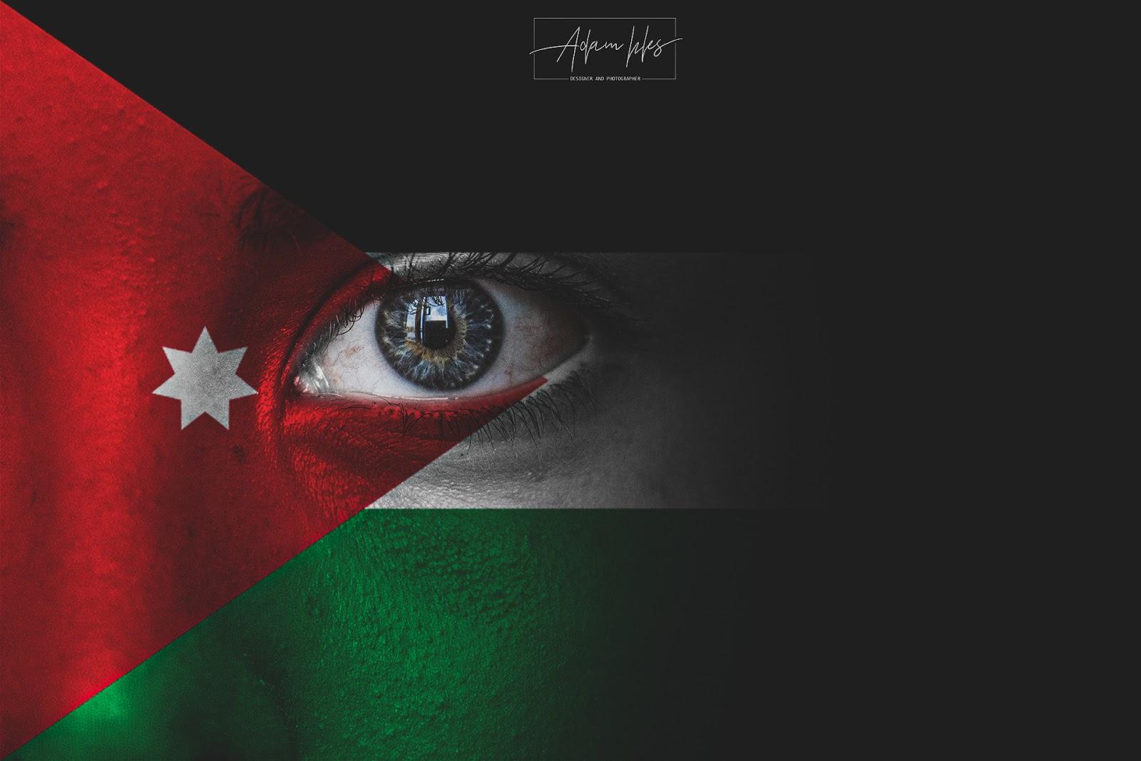 صور علم الأردن على وجه طفل