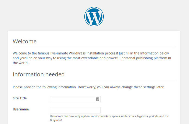Creating a new user in new Wordpress installation