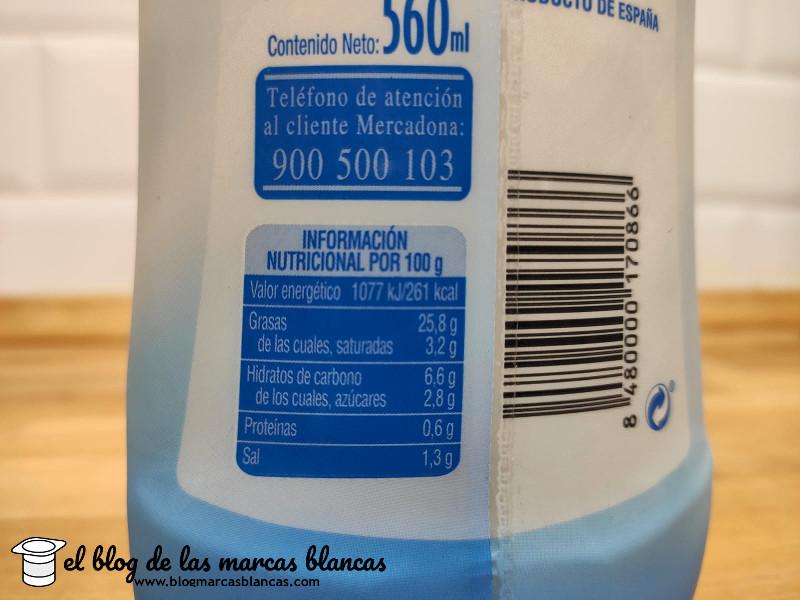 Información nutricional de la salsa ligera tipo mayonesa light Ligeresa Hacendado de Mercadona en el blog de las marcas blancas.