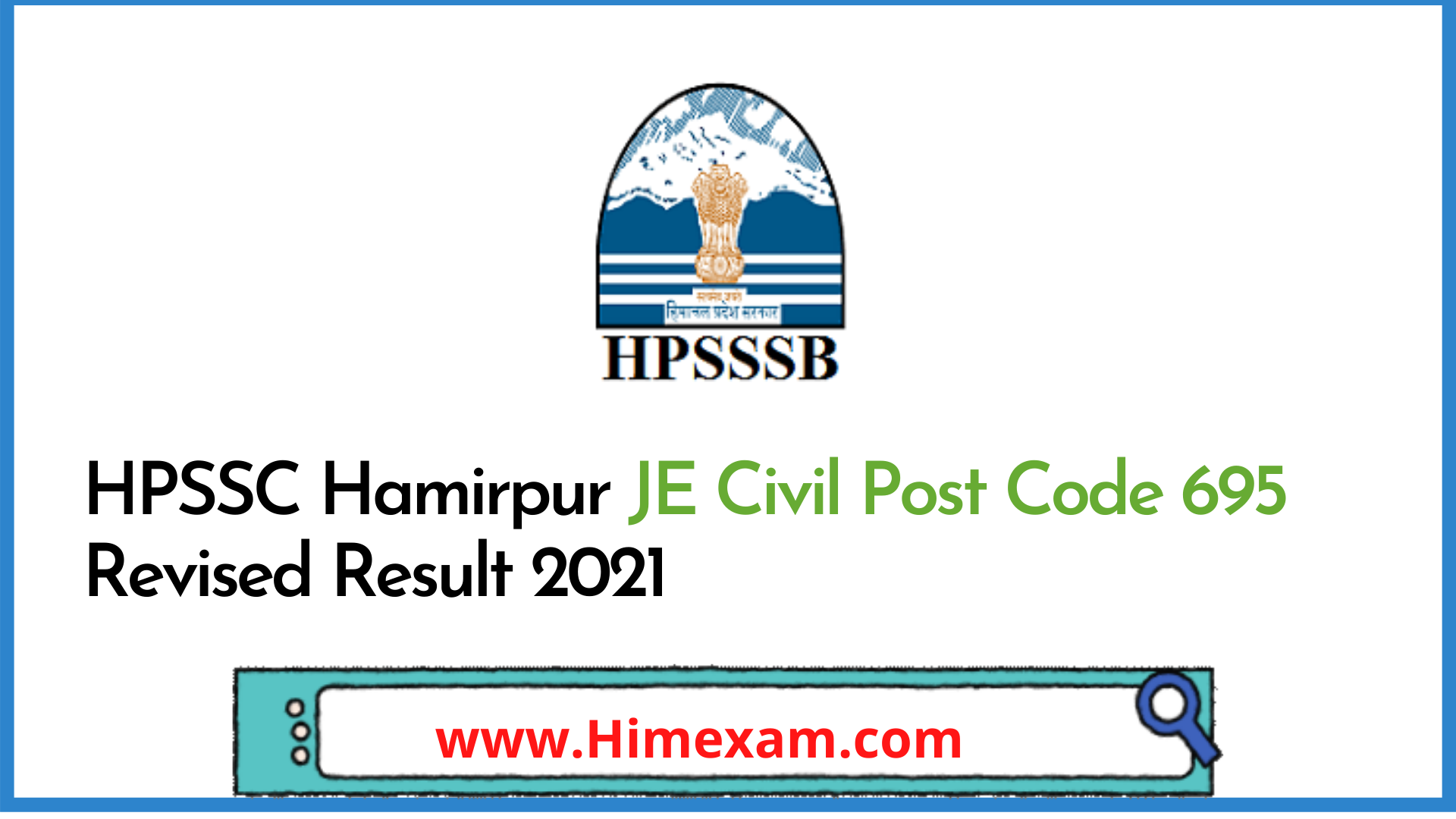 HPSSC Hamirpur JE Civil Post Code 695 Revised Result 2021
