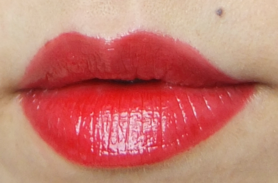 MAC Ruby Woo Lipglass swatch