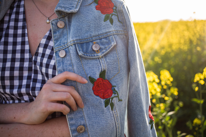 Outfit: gingham dress, floral embroidered denim jacket