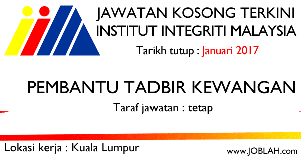 Jawatan Kosong 2017 Institut Integriti Malaysia (IIM)