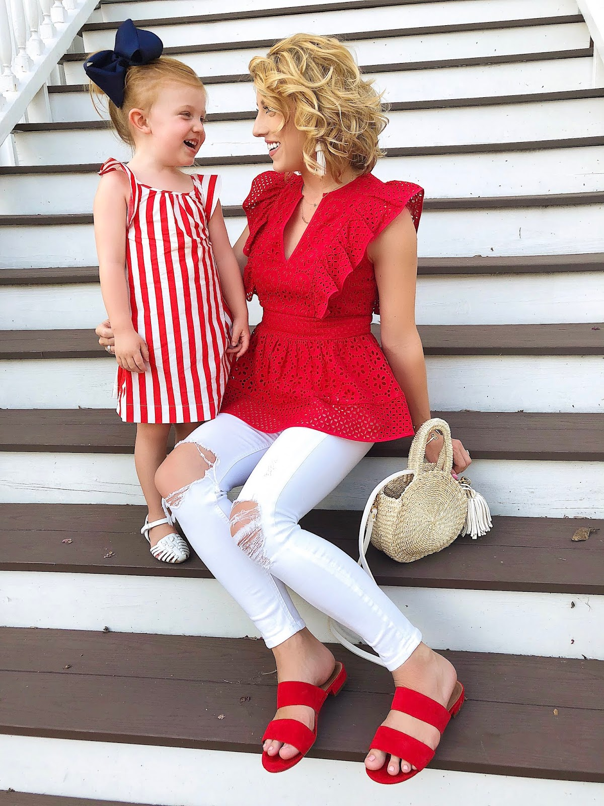 Mommy & Me in Red: Under $100 Eyelet Peplum Top + Girls J.Crew Stripe Dress - Something Delightful Blog