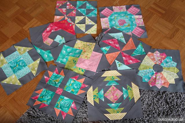 stitchydoo: 6 Köpfe - 12 Blöcke Quilt Along - Alle neun Patchworkblöcke im Oktober
