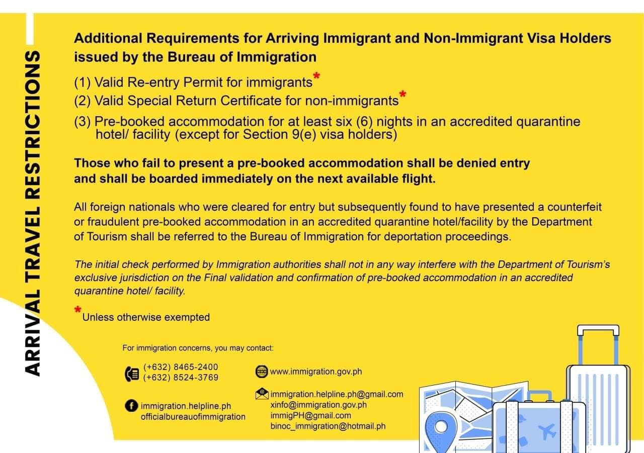 Philippines travel requirements for immigrant and non immigrant visa holders