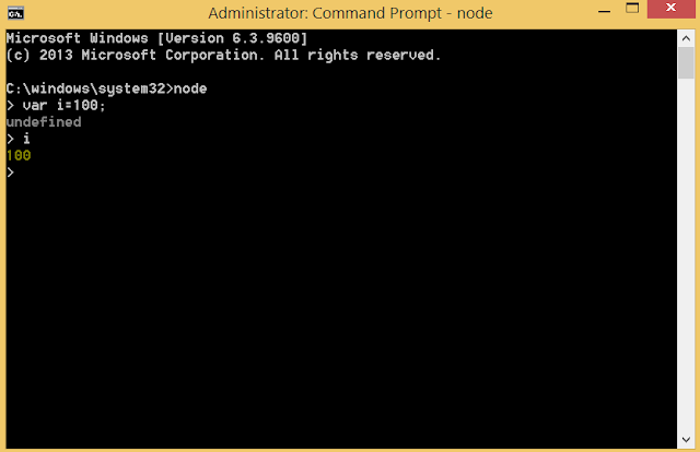 Node.js shell in command prompt