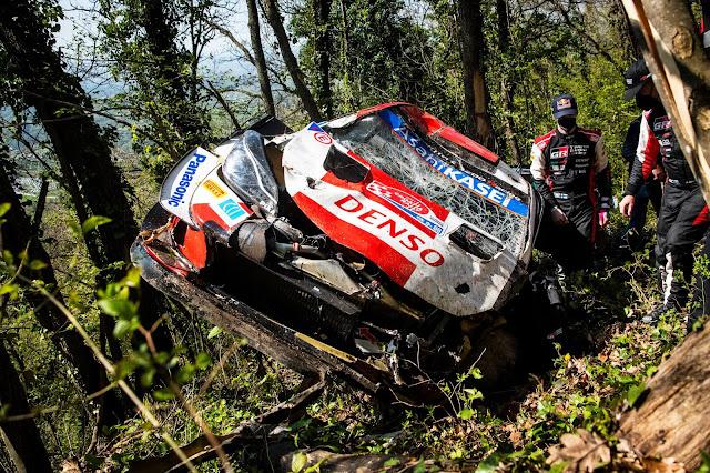 Kalle Rovanpera crashes toyota rally car