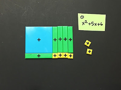 example #1 - using algebra tiles to factor a quadratic trinomial with A=1 and no negatives