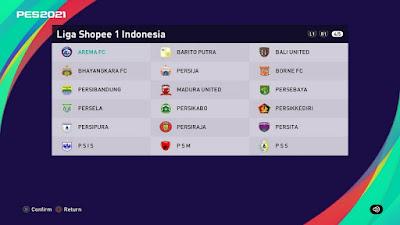 PES 2021 PS4 Option File Liga 1 Shopee Indonesia
