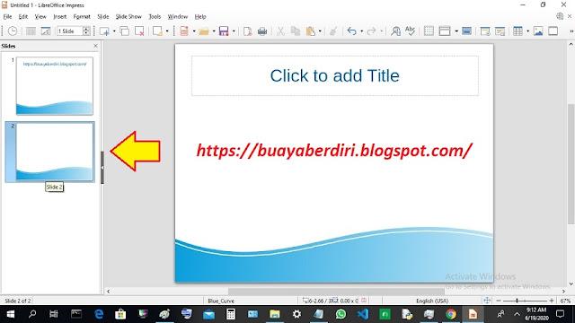 Cara menambah Slide Kebawah di Libre Office Impress