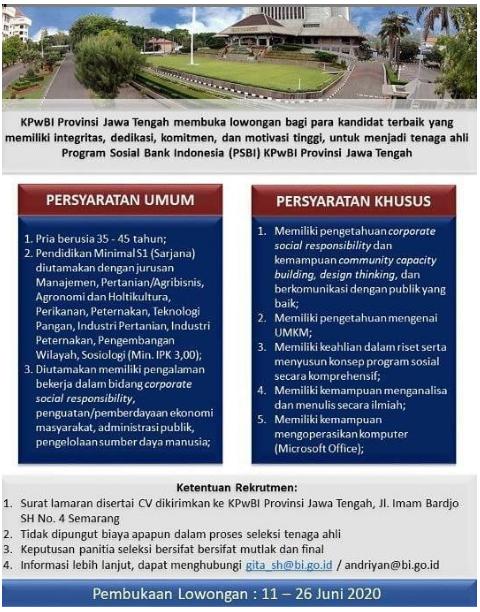 Lowongan Kerja Kantor Perwakilan (KPw) Bank Indonesia Provinsi Jawa Tengah Juni 2020