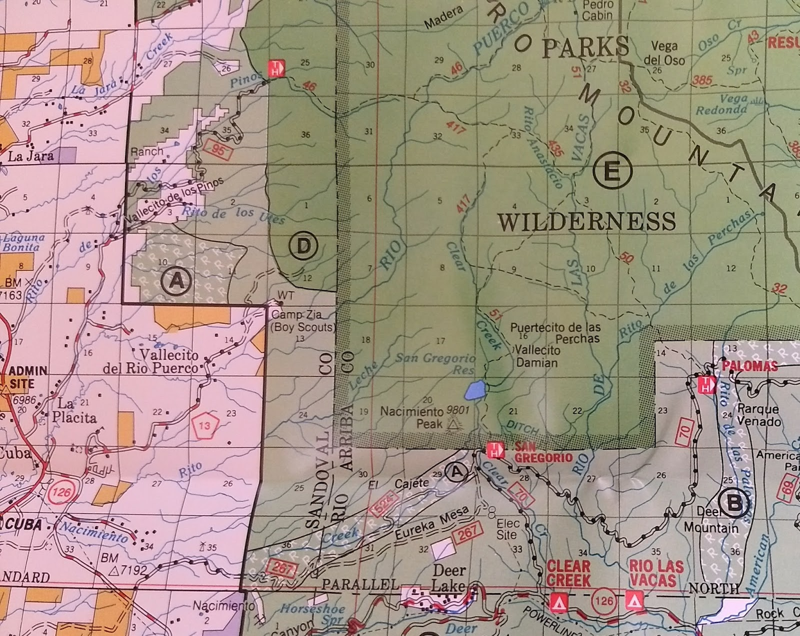 excerpt from us forest service map
