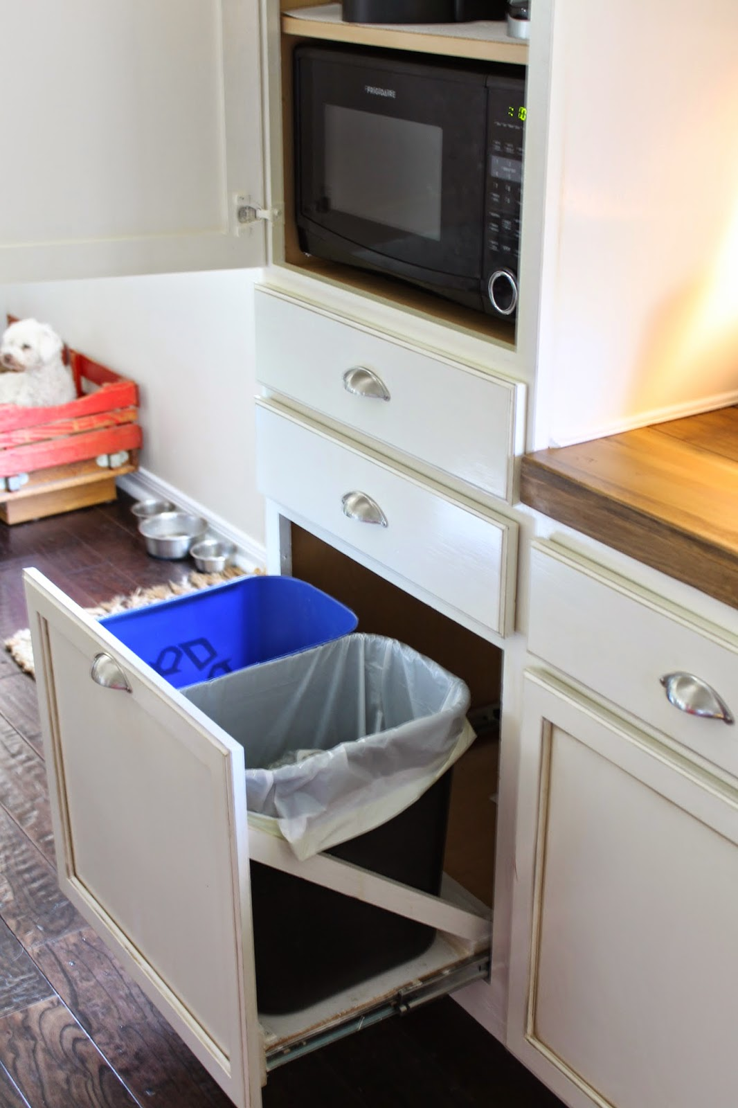 hide kitchen trash can oak cabinet the ragged wren hidden coffee storage andtrashcan