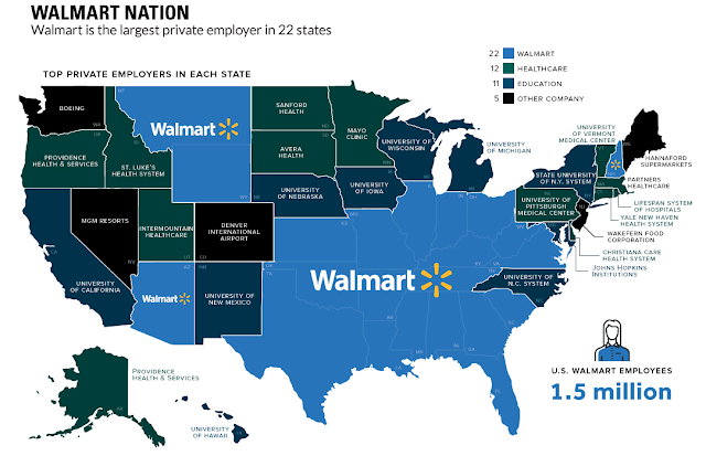 largest employer by state map - Walmart Nation Walmart is the largest private employer in 22 states 22 Top Private Employers In Each State Walmart Healthcare Education Other Company 11 5 Boeing Walmart Medical Mont Pitshurgh Cal Center Walmart Walmart Vid