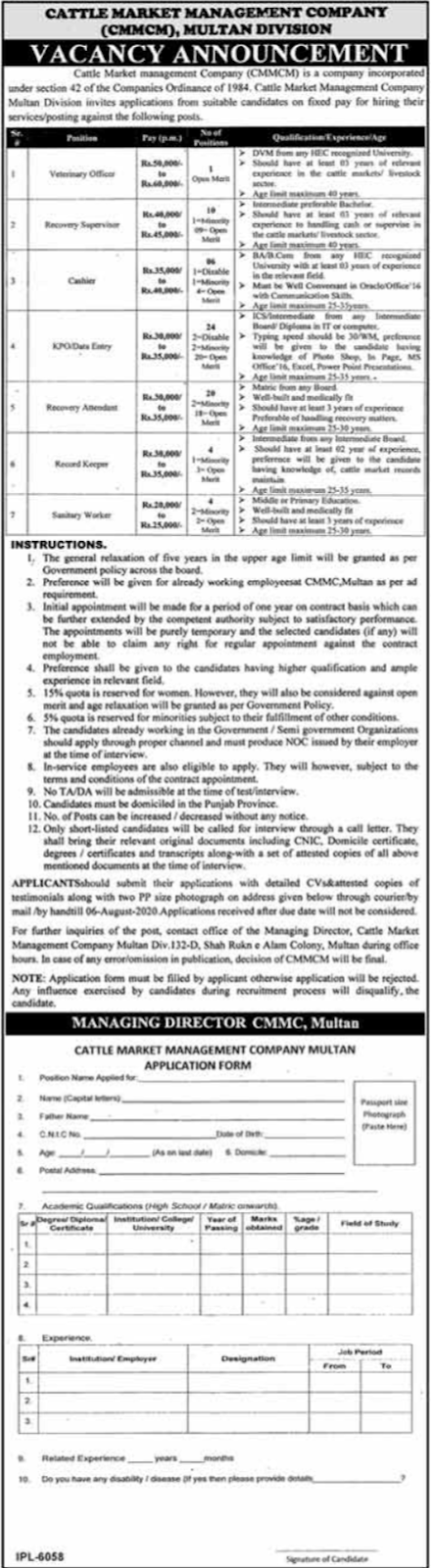 Cattle Market Management Company Multan Jobs 2020
