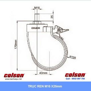 kích thước Bánh xe đẩy giường y tế Colson phi 125 lăn êm không ồn | BN-5654-465 sử dụng ổ bi www.banhxeday.xyz