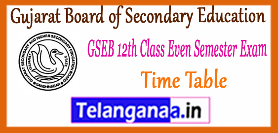 GSEB Gujarat Board of Secondary Education 12th Class 2nd 4th Semester Exam Time Table 2018