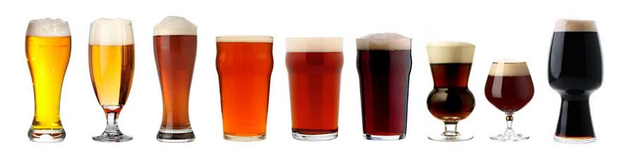 Estilos diferentes de cerveza artesana en vasos del glosario cervecero.