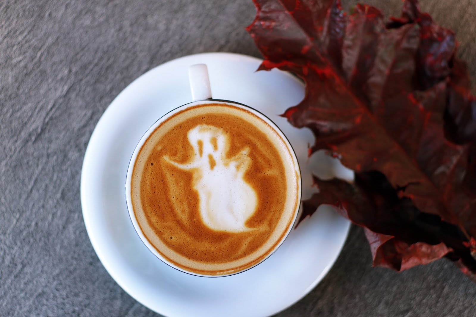 Latte art of a Halloween ghost