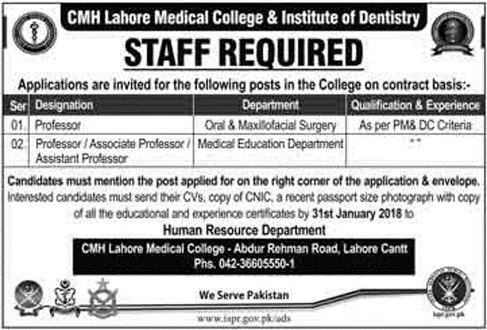 Recent Jobs announced in CMH Lahore Medical College and Institute Of Dentistry