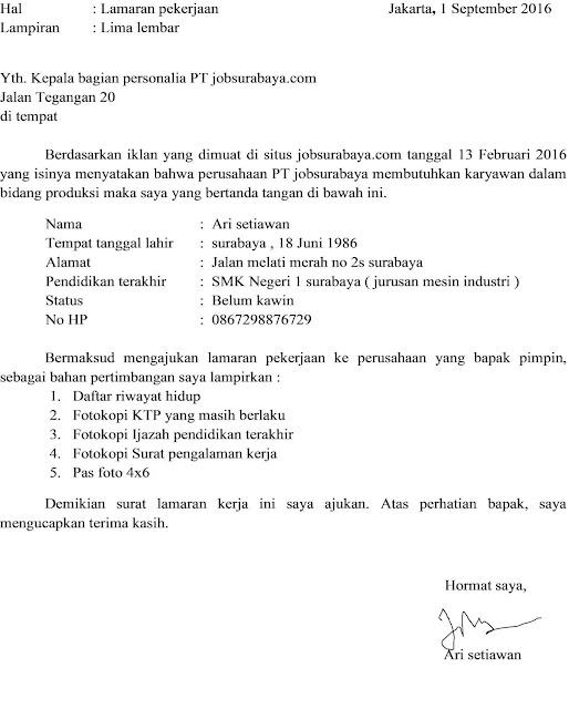 Contoh Surat Lamaran Kerja Pabrik (via: contohsuratin.com)