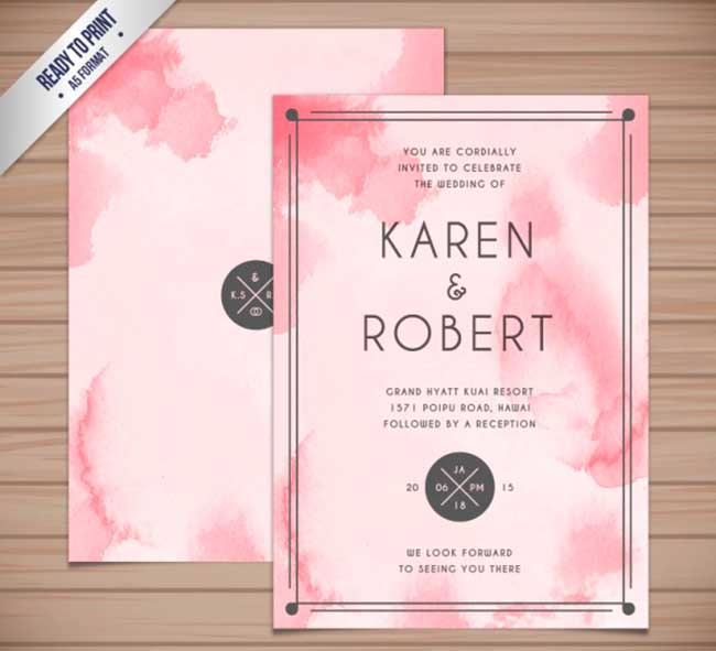 Abstract watercolor wedding invitation download