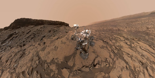 "This September 2016 self-portrait of NASA's Curiosity Mars rover shows the vehicle at the ""Quela"" drilling location in the scenic ""Murray Buttes"" area on lower Mount Sharp. The panorama was stitched together from multiple images taken by the MAHLI camera at the end of the rover's arm. Credits: NASA/JPL-Caltech/MSSS"