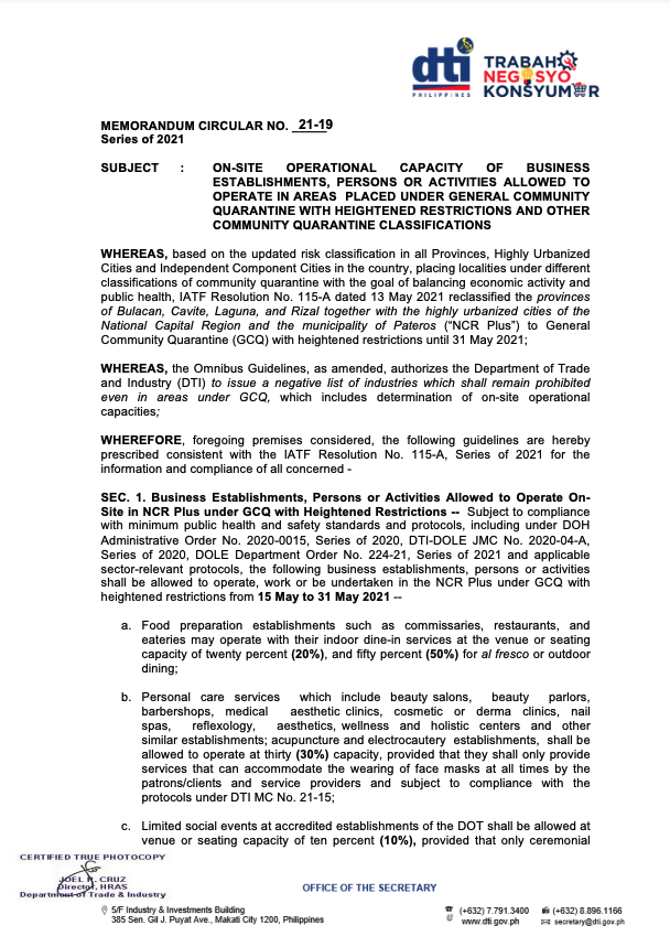 DTI Memorandum Circular 21-19 for On-site Operational Capacity of Business Establishments, Person or Activities Allowed to Operate in Areas Under GCQ and Other Community Quarantine Classifications