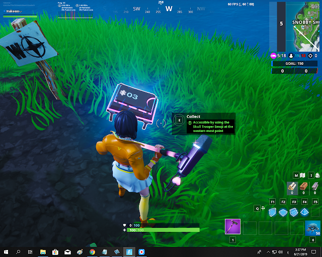 Accessible by using the Skull Trooper Emoji at the western most point FORTBYTE Mission #03